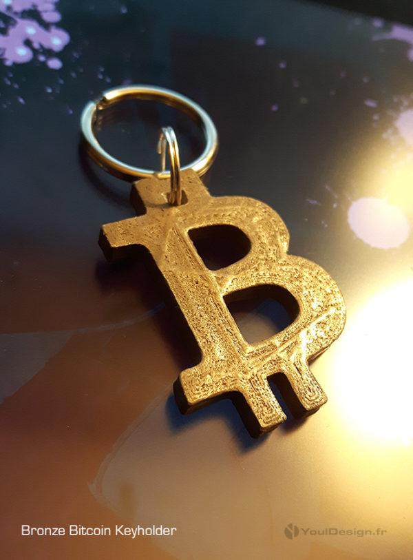 Bitcoin 3Dprinted Bronze KeyHolder